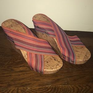 Montego Bay Stripe heel. Size 7. Multicolor stripe